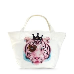 NWT JUICY COUTURE White Angel Tiger Key Tote